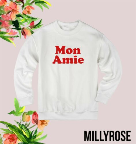 MON AMIE RED FRENCH WOMENS SLOGAN GREY BLACK WHITE JUMPER SWEATER SWEATSHIRT