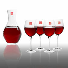 RCR Toscana Luxion Crystal Glass Decanter Jug & 4 Red Wine Glasses Gift Box Set