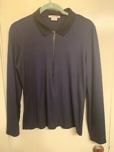 NWOT Lacoste Women's 1/3 Zip Pullover Navy Blue Long Sleeve Shirt Women, 6, IT42