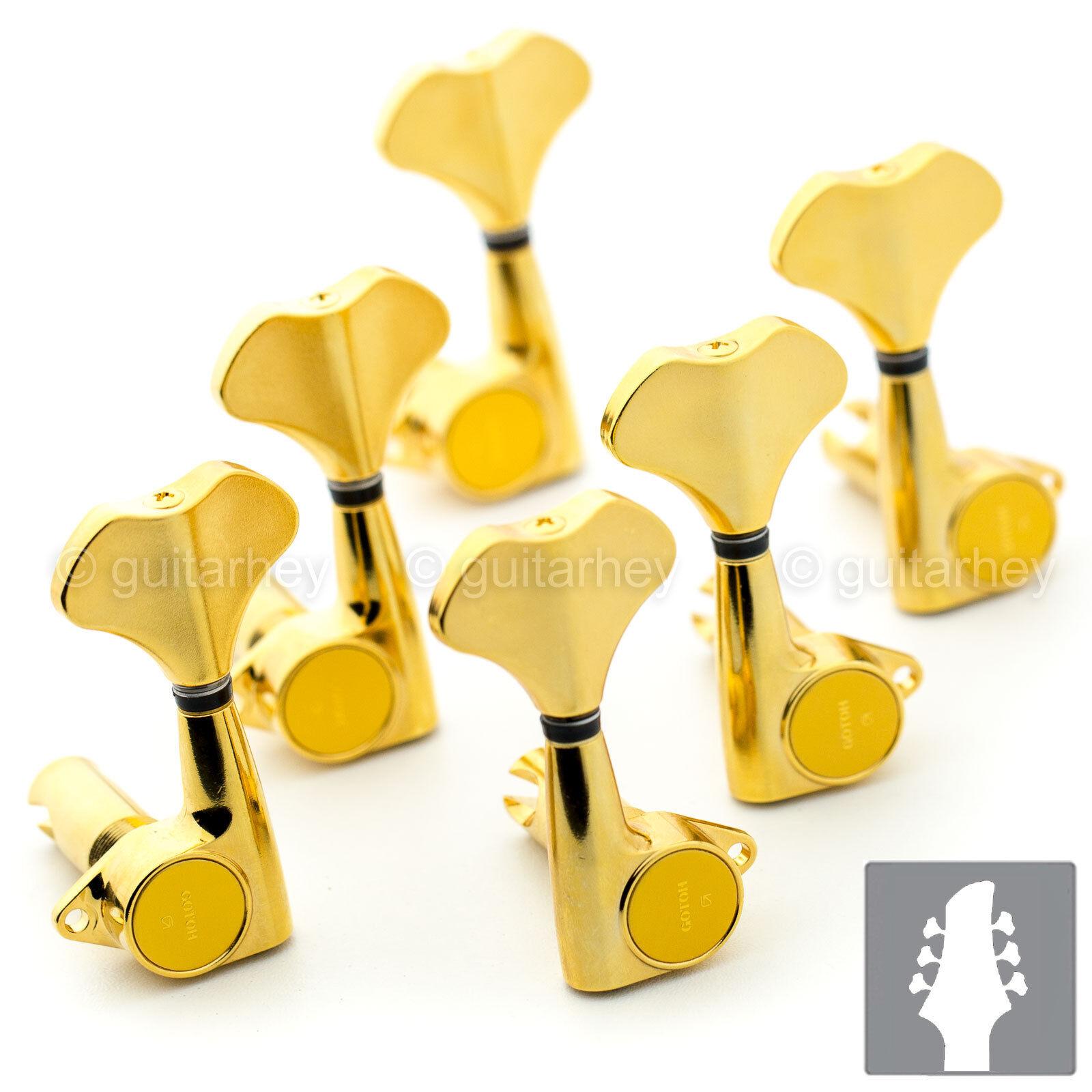 NEW Gotoh GB720 6-String Bass Keys L3+R3 Lightweight Tuners w  Screws 3x3 - Gold