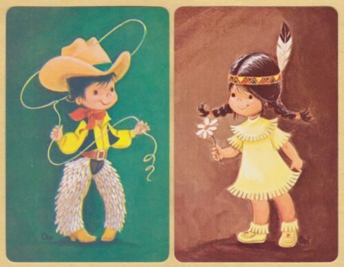 2 Single VINTAGE Swap//Playing Cards CHILDREN PLAYING COWBOY INDIAN Artist Chri