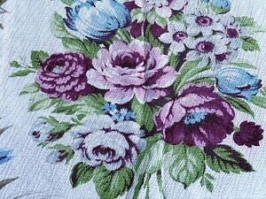 Sale-Shabby-Chic-Bouquets-Barkcloth-Vintage-Fabric-Drape-Curtain-ROSES-30-039-s-DIY