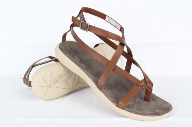 New Merrell Women's Duskair Seaway Leather Thong Sandals Size 10m Oak # J94262