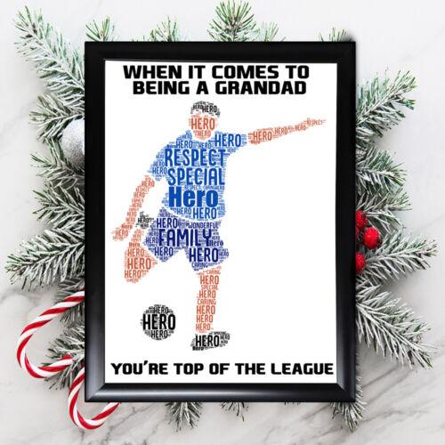 Personnalisé Noël Grand-Père Cadeau Grand-Père lui encadrée meilleures cartes football