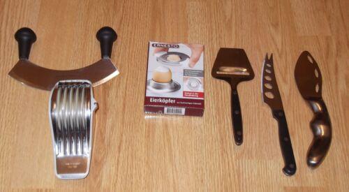 Küchenhelfer 6 Stück Kräuteroller Wiegemesser Eierköpfer Käsemesser Küchenwender