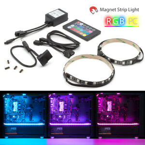 Details About Led Strip Lights Kit Rgb Gaming Pc Case Remote Control For Aura Sync Mid Tower