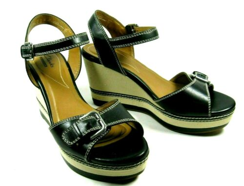 Clarks Women's Sandals Shoes Wedges Black Leather