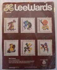 "Vintage LeeWards Crewel 6 ""Mini Critters"" Kit #35-69928- Finished 2 1/2"" x 3"""