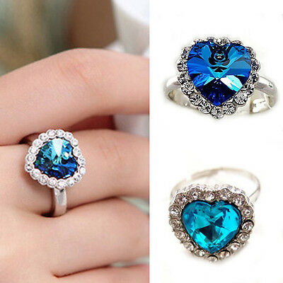 Chic Crystal Full Rhinestones Titanic Heart of Ocean Ring Jewelry Gift New