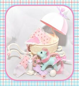 My-Little-Pony-G1-Vtg-BABY-BUGGY-Cuddles-Pram-Carriage-Playset-Accessories