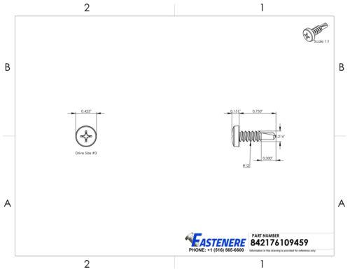 "#12 x 3//4/"" Phillips Pan Head Self Drilling Metal Tek Screws Stainless Qty 50"