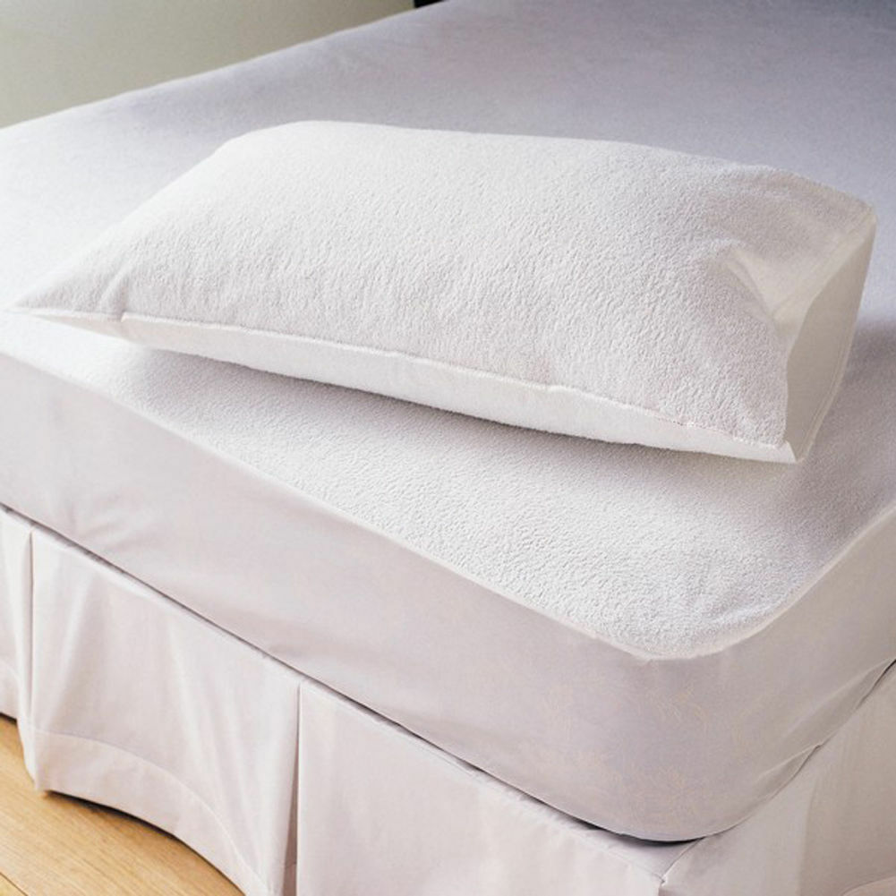 terry towel waterproof fitted mattress protector cover. Black Bedroom Furniture Sets. Home Design Ideas