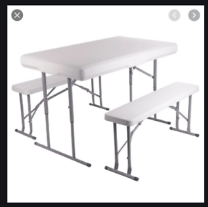 Portable Table And 2 Benches Set Folds Flat For Easy Storage And Transportation