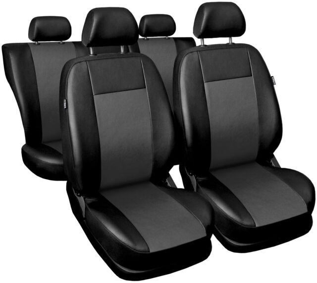 CAR SEAT COVERS fit SAAB 9.3 - Leatherette full set Black/Grey
