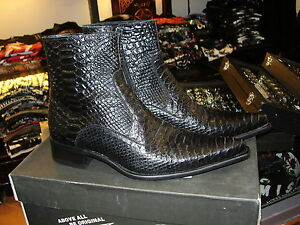 Stivaletti-Newrock-New-Rock-punta-stampa-pitone-boots-real-leather-solo-39