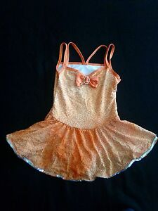 Orange-Sequence-Glitter-Jazz-Tap-Lyrical-Costume-Dress-Medium-Mc-Girls