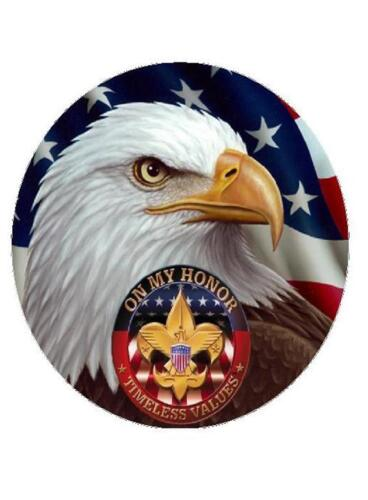 """ROUND 7.5/"""" EAGLE SCOUT BOY SCOUT  Edible Cake Frosting Topper Edible Picture"""