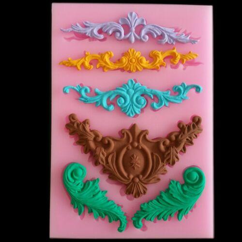 Silicone Fondant Mould Relief Baroque Vintage Cake Border Decor Sugar Paste Mold