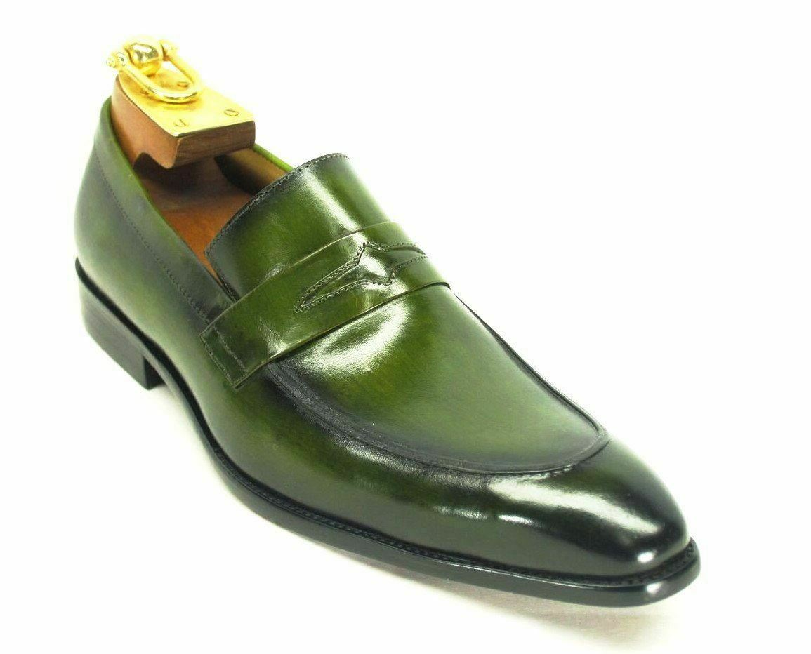 Carrucci Men's Leather Penny Loafer Olive Dress shoes KS478-501