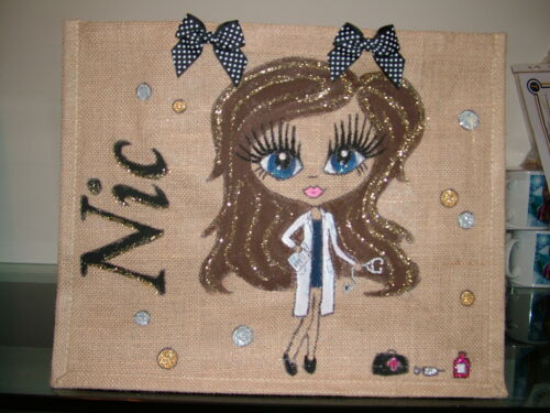 PERSONALISED LARGE HAND PAINTED JUTE BAGS 40cmx35cmx18 Any Design Created Gift