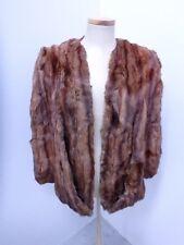 29859 Brown Ermine Real Genuine fur Women's Coat Jacket CAPE Craft Cutter