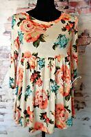 Small S Womens Ivory And Coral Vintage Style Floral Baby Doll Ruffle Top