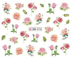 Nail-Art-Decals-Transfers-Stickers-Pink-Flowers-BN876
