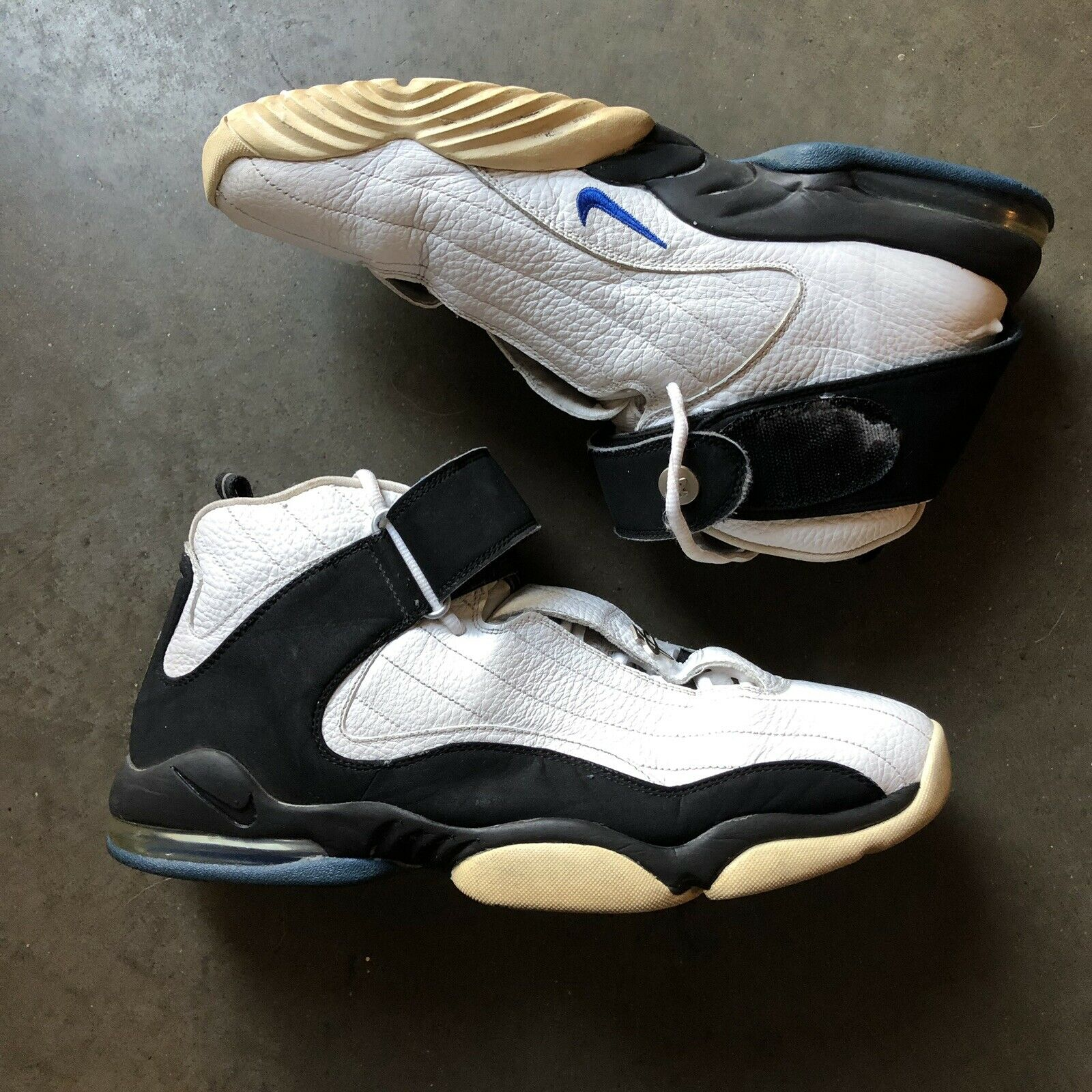 Men's 2005 Nike Air Max Penny Hardaway 4 Four White Black Royal Sz 14 312455-101