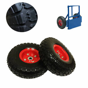 2X-10-034-Black-Rubber-Tyre-Wheel-Replacement-NoMore-Flats-Sack-Truck-Trolley-DCUK