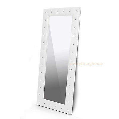 """MODERN FAUX LEATHER FAUX CRYSTAL TUFTED FLOOR MIRROR WHITE OR BLACK 71"""" TALL"""