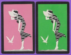 2-Single-VINTAGE-Swap-Playing-Cards-LADY-BIG-HAT-STRIPE-DRESS-GULL-BIRD-Pnk-Grn