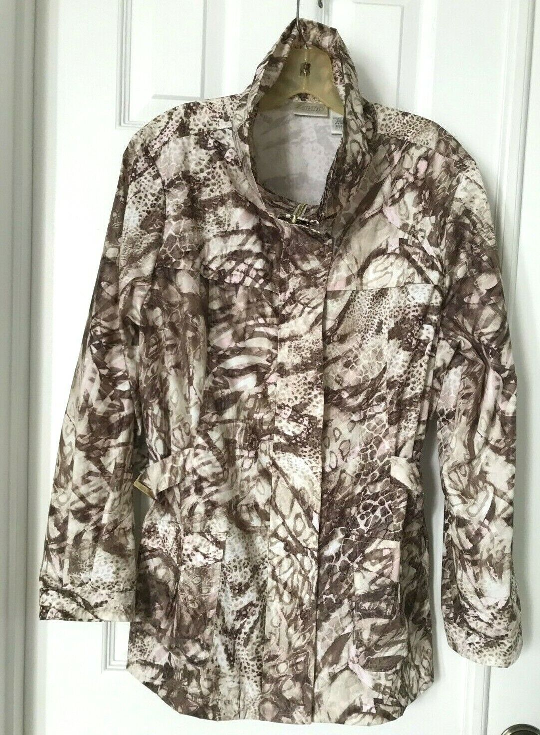 Zenergy By Chicos Lightweight Zip Up Jacket 2 (L) 100% Polyester Animal Print