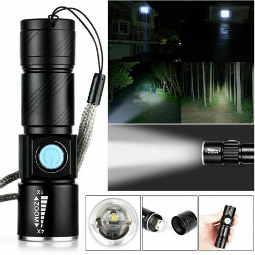 UK Waterproof USB Rechargeable Ultra Bright LED Zoomable Flashlight Lamp Sets