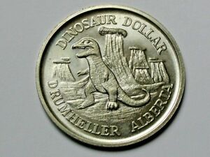 Drumheller-AB-CANADA-1975-DINOSAUR-Trade-DOLLAR-Token-with-Large-Letters-amp-Full