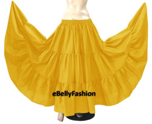 Cotton Skirt 10 Yard 3 Tiered Belly Dance Gypsy Tribal Ethenic Jupe Flamenco