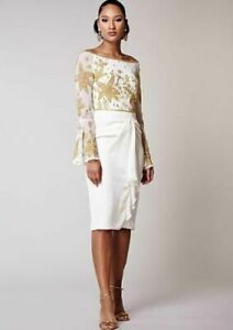 Virgos-Lounge-White-Donata-Embellished-Bell-Cocktail-Bardot-Dress-sz-10