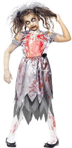 Zombie Bride Girls Halloween Fancy Dress Fairytale Horror Kids Childrens Costume