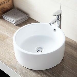 Round Bathroom Sink Bowls : Ceramic-Round-Vessel-Bathroom-White-Sink-Bowl-Porcelain-Basin-w-Pop-Up ...