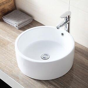... -Round-Vessel-Bathroom-White-Sink-Bowl-Porcelain-Basin-w-Pop-Up-Drain