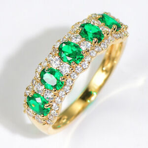 2Ct-100-Natural-Diamond-14K-Yellow-Gold-Colombian-Emerald-Cluster-Ring-RWG213