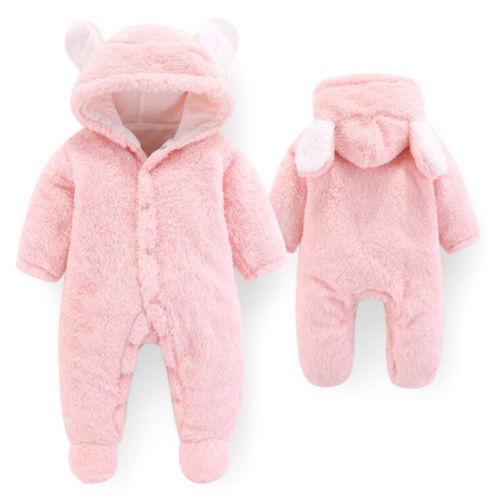 Newborn Baby Unisex Cotton Hooded Romper Bear Jumpsuit Bodysuit Clothes Outfit B