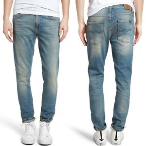 Nudie-Herren-Slim-Tapered-Fit-Roehren-Stretch-Jeans-Hose-Lean-Dean-Silver-Lake