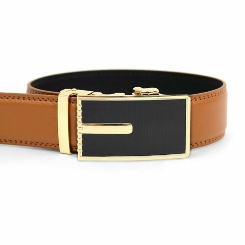 Men's Leather Ratchet Belt with Geometrical Path Automatic Buckle MGLBB15