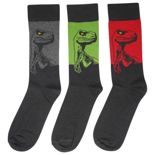 6 Pack Mens Jurassic Predator Socks Size 6-11 Raptor World Dinosaur Velociraptor