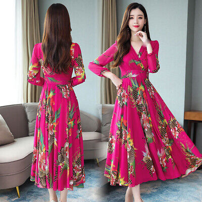Latest Autumn Korean Fashion Elegant Long Sleeve V Neck Chiffon