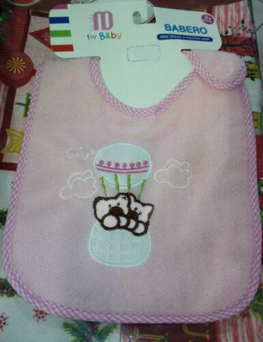 Bavetto Bavaglino Rosa Bambina con Orsetti Cotone sopra Cerato Sotto