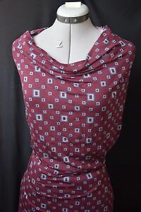 IKKS-ONE-STEP-Magnifique-jersey-coton-a-motif-geometrique-Rouge-bordeaux-bleu