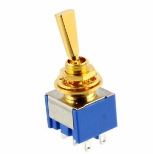 new on on on 3 way dpdt mini toggle switch flat lever for guitar or bass gold ebay. Black Bedroom Furniture Sets. Home Design Ideas