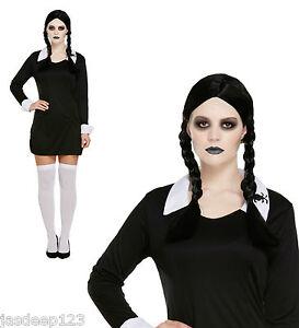 chiaro e distintivo raccolto servizio eccellente Dettagli su Mercoledì Famiglia Addams Costume Vestito Scuola Ragazza  Halloween Horror- mostra il titolo originale