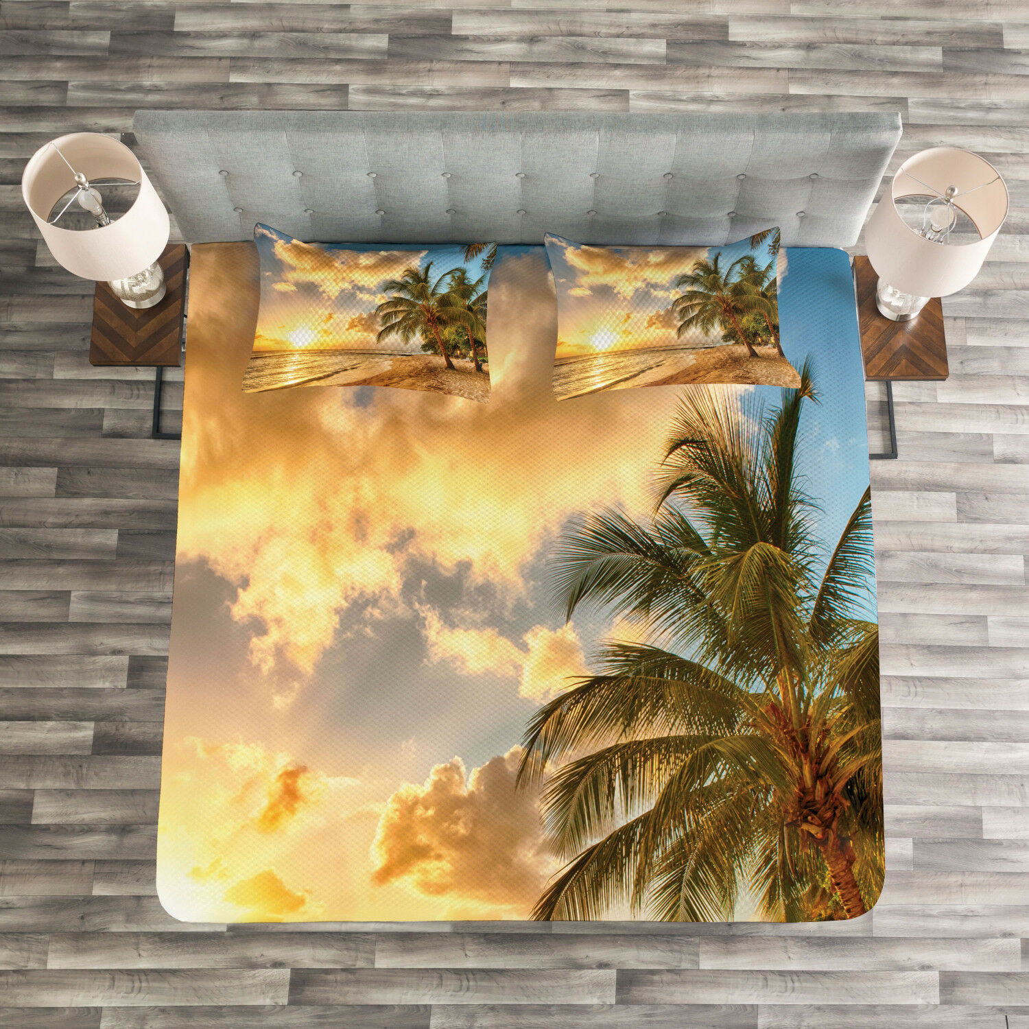 Tropical Quilted Bedspread & Pillow Shams Set, Exotic Sandy Beach Print